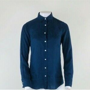 J Crew The Perfect Shirt In Linen Navy Blue